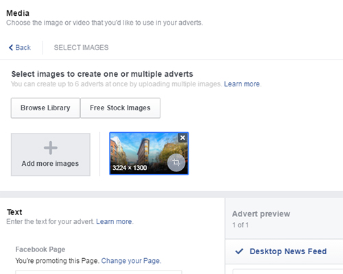 facebook ads select images